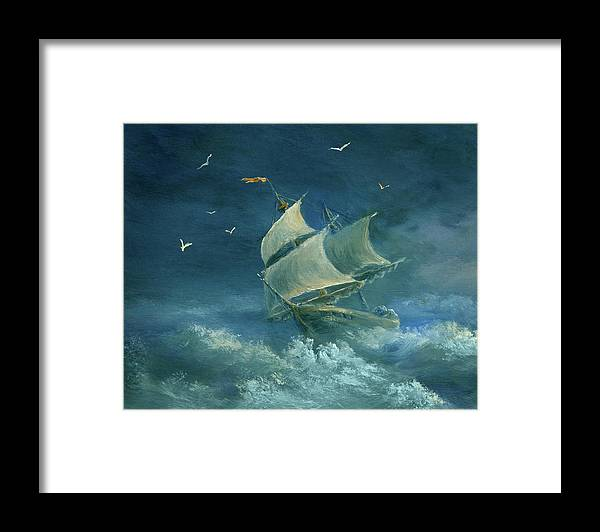 Image Framed Print featuring the digital art Heavy Gale by Pobytov