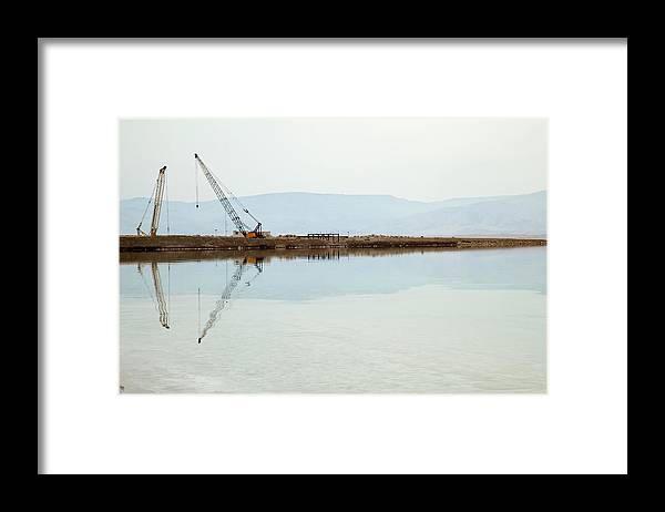 Working Framed Print featuring the photograph Heavy Machinery At The Dead Sea by Eldadcarin