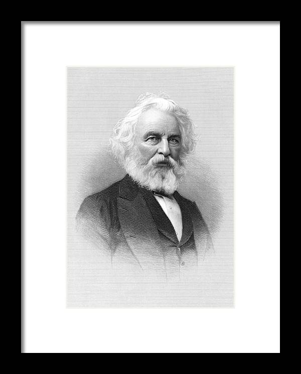 B1019 Framed Print featuring the painting Henry Wadsworth Longfellow (1807-1882) by H.b. Hall And Sons