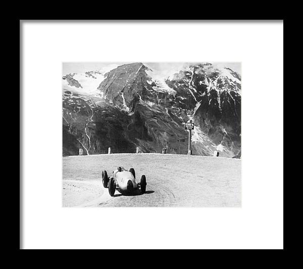 Country And Western Music Framed Print featuring the photograph Hermann Muller In An Auto Union, German by Heritage Images