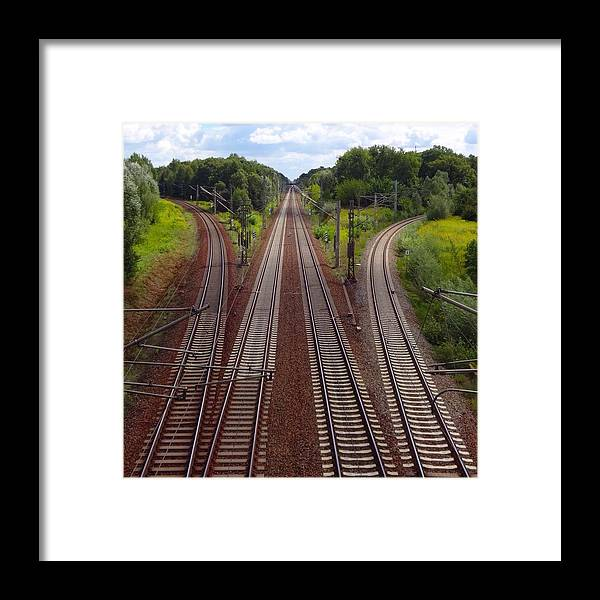Tranquility Framed Print featuring the photograph High Angle View Of Empty Railroad Tracks by Thomas Albrecht / Eyeem