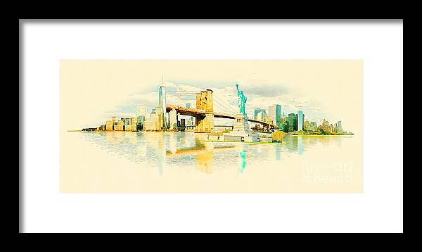 Usa Framed Print featuring the digital art High Resolution Panoramic Water Color by Trentemoller