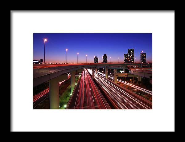 Two Lane Highway Framed Print featuring the photograph Highway At Night by Takuya Igarashi