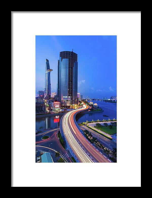 Ho Chi Minh City Framed Print featuring the photograph Ho Chi Minh City At Night by Jethuynh