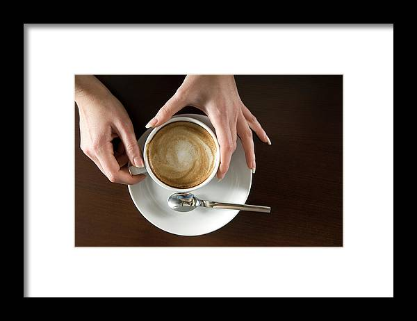 Spoon Framed Print featuring the photograph Holding Cappuccino by 1001nights