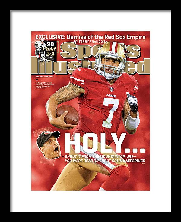 Candlestick Park Framed Print featuring the photograph Holy . . . Colin Kaepernick Of The San Francisco 49ers Sports Illustrated Cover by Sports Illustrated