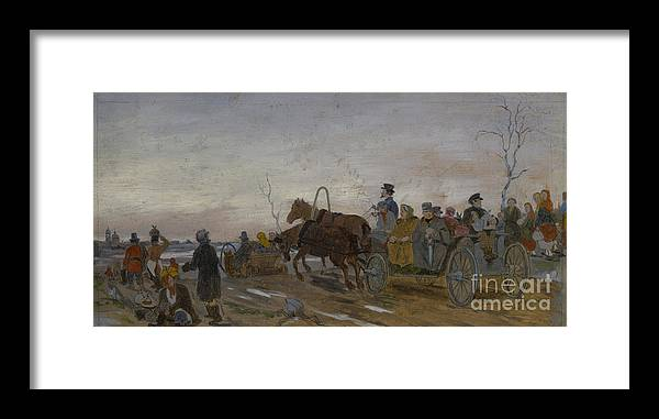 Panoramic Framed Print featuring the drawing Holy Saturday Evening, End 1860s-early by Heritage Images