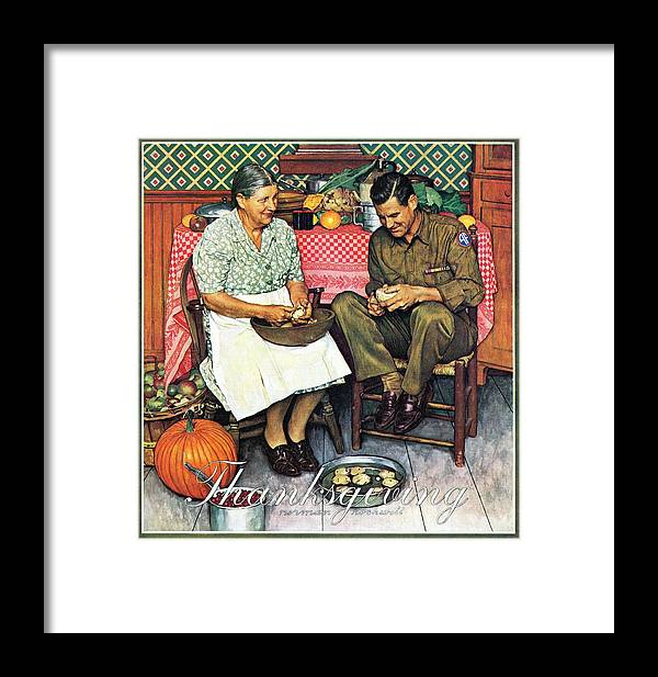 Kitchens Framed Print featuring the drawing Home For Thanksgiving by Norman Rockwell