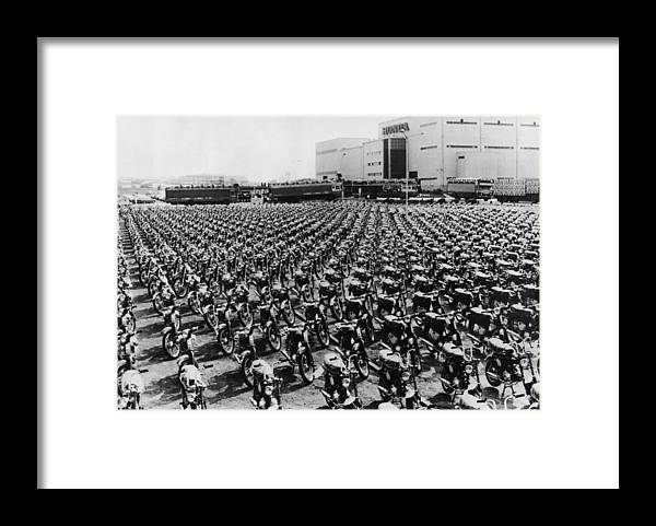 In A Row Framed Print featuring the photograph Honda Works by Keystone