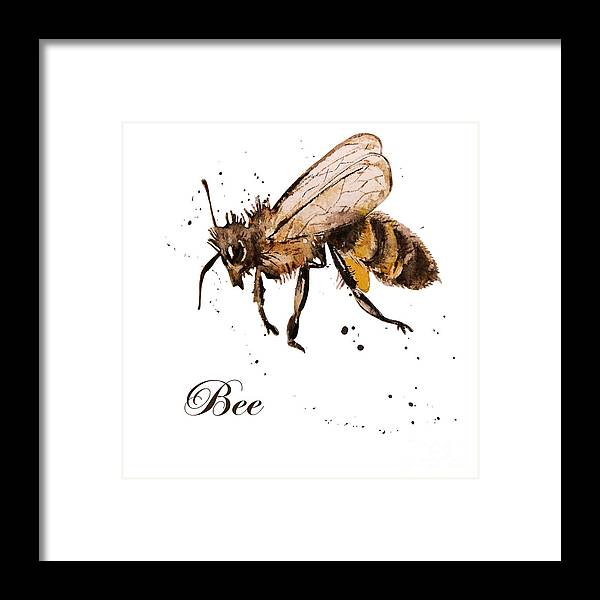 Antenna Framed Print featuring the digital art Honey Bee Watercolor Isolation by Knopazyzy