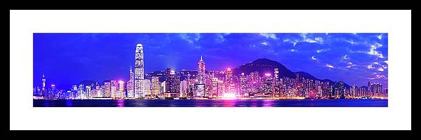 Downtown District Framed Print featuring the photograph Hong Kong City Skyline In China by Deejpilot