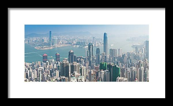 New Territories Framed Print featuring the photograph Hong Kong Iconic Skyscraper City by Fotovoyager