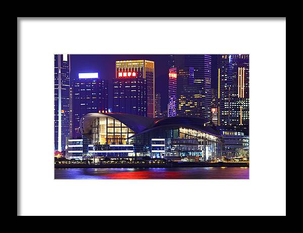 Corporate Business Framed Print featuring the photograph Hong Kong Island At Night by Ngkaki