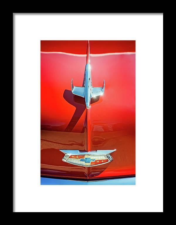 Vehicle Framed Print featuring the photograph Hood Ornament On A Red 55 Chevy by Scott Norris