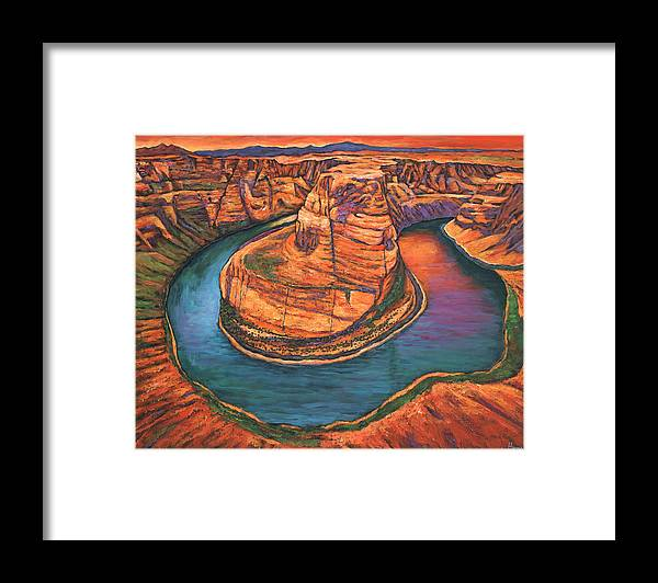 Arizona Framed Print featuring the painting Horseshoe Bend Sunset by Johnathan Harris