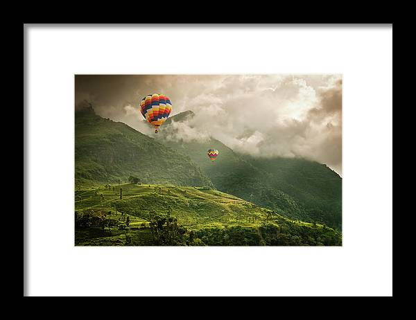 Tranquility Framed Print featuring the photograph Hot Air Balloons Over Tea Plantations by Nicolo Sertorio