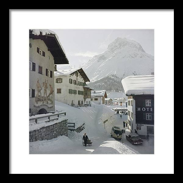 People Framed Print featuring the photograph Hotel Krone, Lech by Slim Aarons