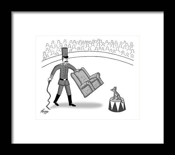 Captionless Framed Print featuring the drawing House Cat Tamer by Felipe Galindo