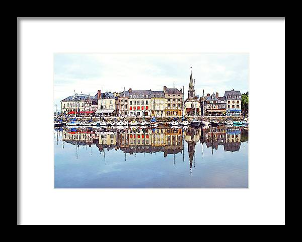 Tranquility Framed Print featuring the photograph Houses Reflection In River, Honfleur by Ana Souza