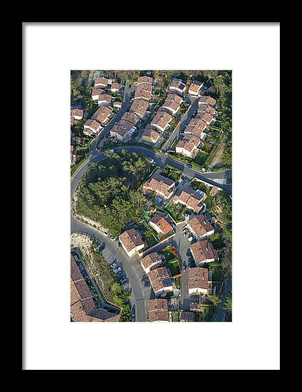 Tranquility Framed Print featuring the photograph Housing Development, Peypin, Aerial View by Sami Sarkis