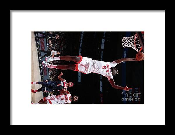 Nba Pro Basketball Framed Print featuring the photograph Houston Rockets V Washington Wizards by Ned Dishman