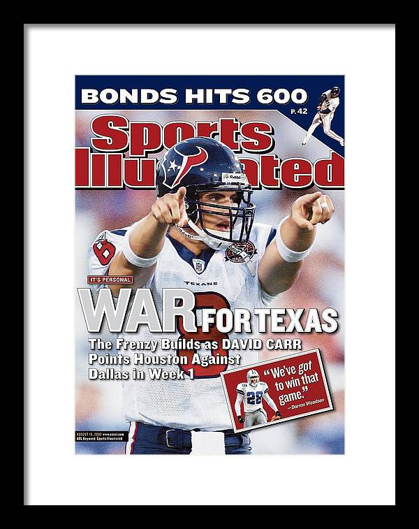 Magazine Cover Framed Print featuring the photograph Houston Texans Qb David Carr, 2002 Nfl Hall Of Fame Game Sports Illustrated Cover by Sports Illustrated