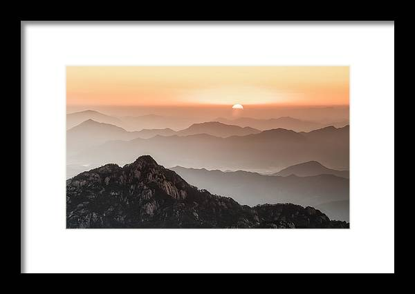 China Framed Print featuring the photograph Huangshan Sunrise by Luigi Ruoppolo