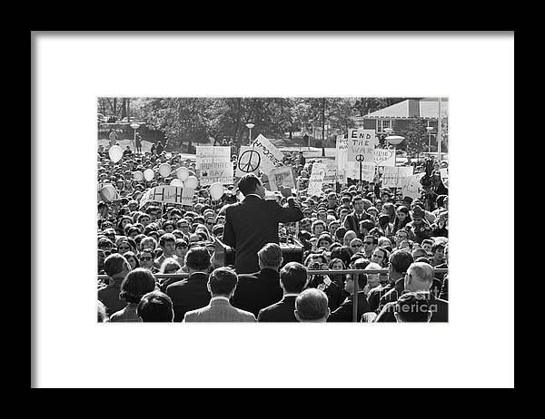 Crowd Of People Framed Print featuring the photograph Hubert Humphrey Speaking To Crowd by Bettmann