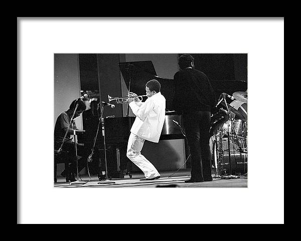 Performance Framed Print featuring the photograph Hugh Masekela Performing by Tom Copi