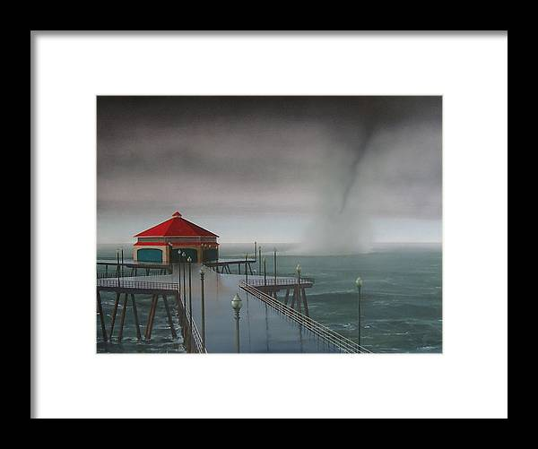 Huntington Beach Framed Print featuring the painting Huntington Beach Pier waterspout by Philip Fleischer