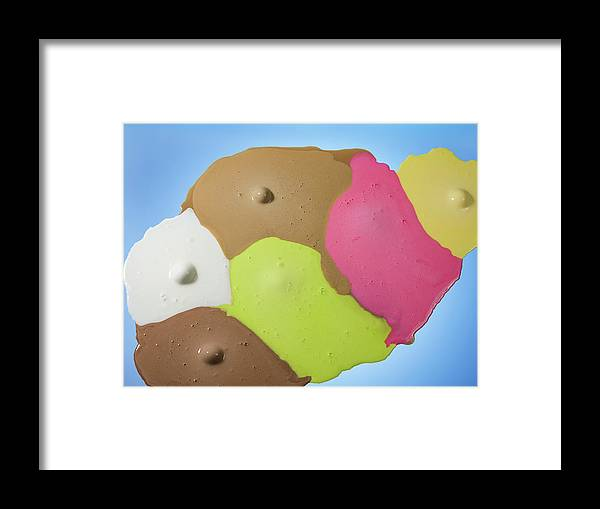 Melting Framed Print featuring the photograph Ice Cream Scoops Melting, Different by Jonathan Knowles