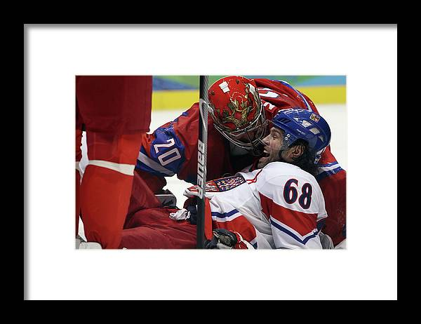 Rogers Arena Framed Print featuring the photograph Ice Hockey - Day 10 - Russia V Czech by Bruce Bennett