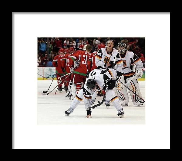 Defeat Framed Print featuring the photograph Ice Hockey - Day 9 - Germany V Belarus by Bruce Bennett