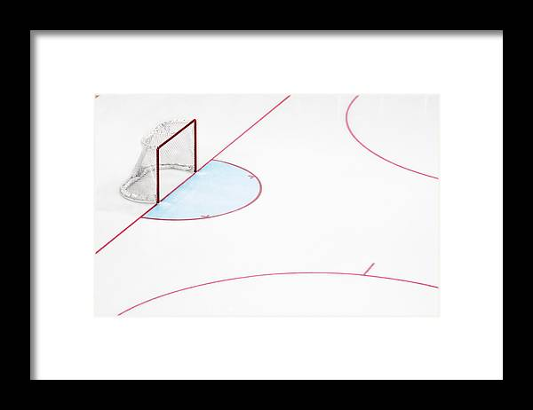 Sport Framed Print featuring the photograph Ice Hockey Goal Net And Empty Rink by David Madison