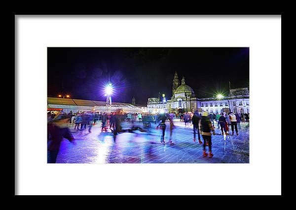 People Framed Print featuring the photograph Ice Rink With Cardiff City Hall by Allan Baxter