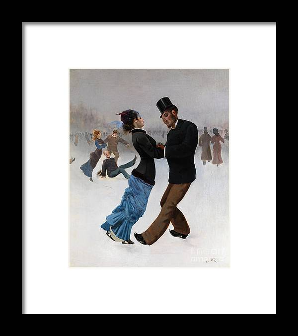 Oil Painting Framed Print featuring the drawing Ice Skaters, C. 1920. Artist Klinger by Heritage Images