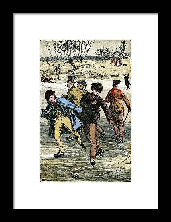 Engraving Framed Print featuring the drawing Ice Skating, 19th Century by Print Collector