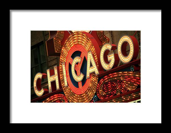 Outdoors Framed Print featuring the photograph Illuminated Chicago Theater Sign by Hisham Ibrahim