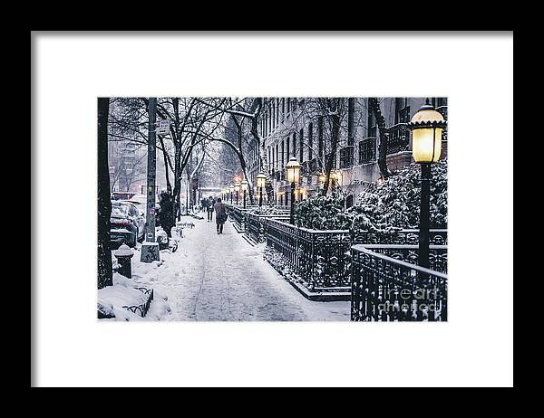 People Framed Print featuring the photograph Illuminated Lamp Posts By Snow Covered by Sven Hartmann / Eyeem