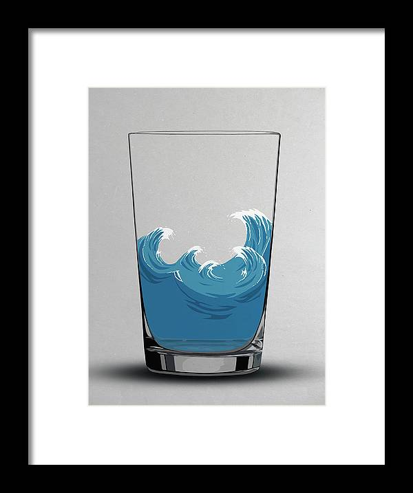 Concepts & Topics Framed Print featuring the digital art Illustration Of Choppy Waves In A Water by Malte Mueller