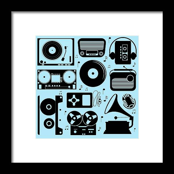 Music Framed Print featuring the digital art Illustration Of Different Musical by Olillia