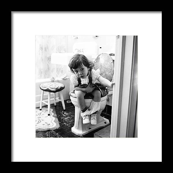 Child Framed Print featuring the photograph In The Bathroom by Rae Russel