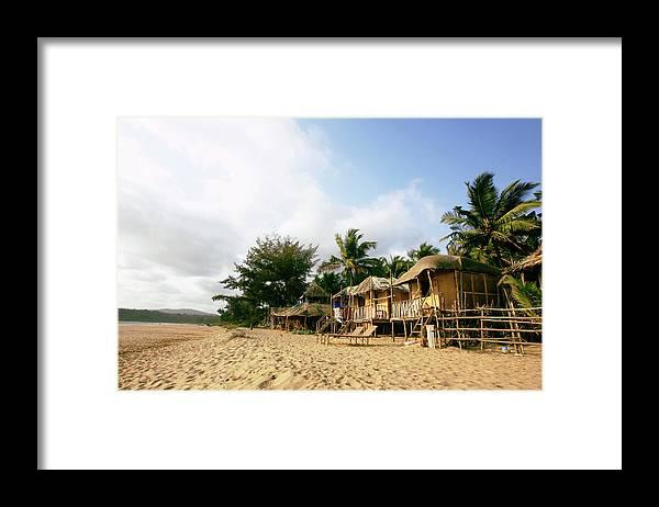 Scenics Framed Print featuring the photograph India, Goa, Beach Huts On Agonda Beach by Sydney James