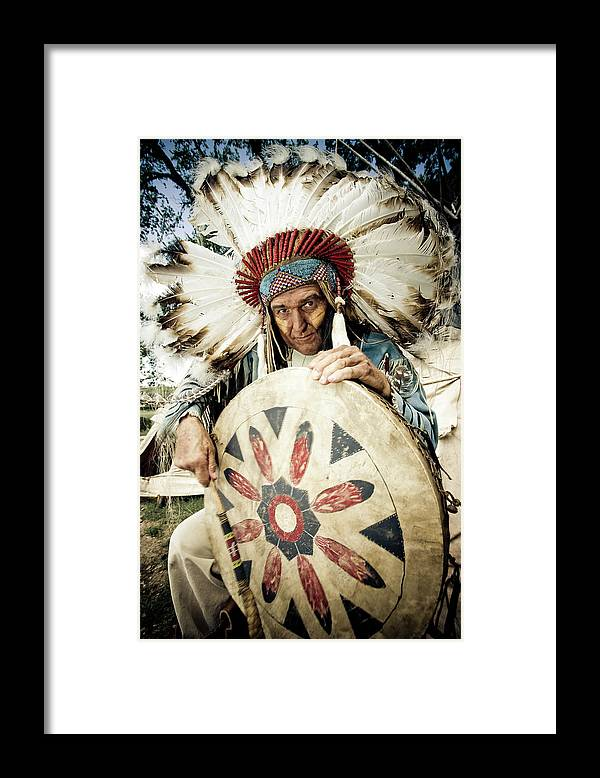 Toughness Framed Print featuring the photograph Indian Chief by Mlenny