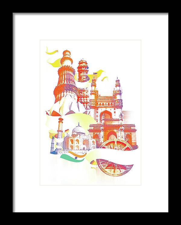 Architectural Feature Framed Print featuring the digital art Indian Monuments Collage by Anand Purohit