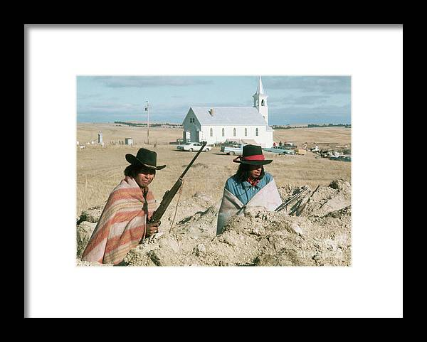Rifle Framed Print featuring the photograph Indian On Guard At Wounded Knee by Bettmann