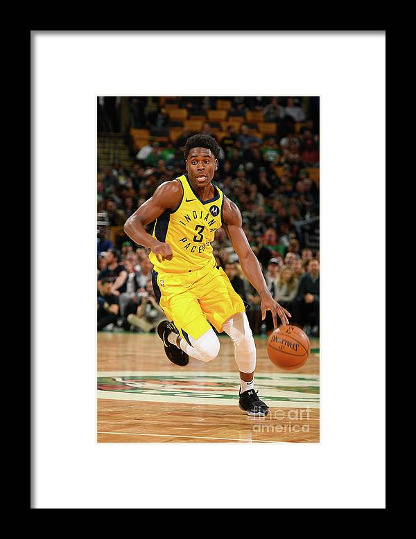 Nba Pro Basketball Framed Print featuring the photograph Indiana Pacers V Boston Celtics by Steve Babineau