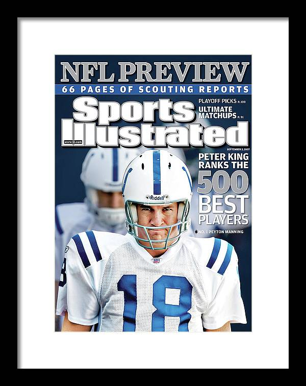 Magazine Cover Framed Print featuring the photograph Indianapolis Colts Quarterback Peyton Manning, 2013 Nfl Sports Illustrated Cover by Sports Illustrated