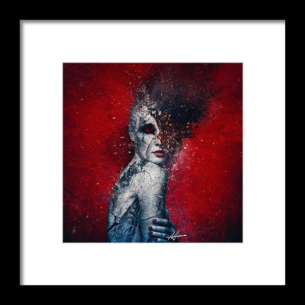 Red Framed Print featuring the digital art Indifference by Mario Sanchez Nevado