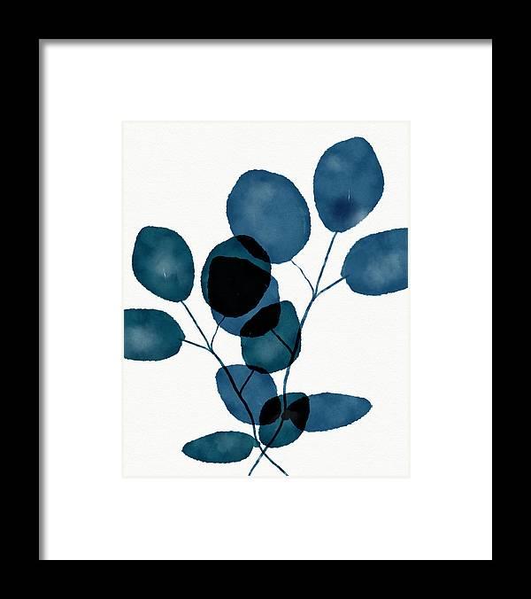 Botanical Framed Print featuring the mixed media Indigo Eucalyptus 3- Art by Linda Woods by Linda Woods